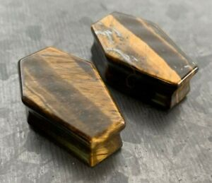PAIR Tiger Eye Organic Stone Double Flare Coffin Shaped Plugs Earlets Gauges