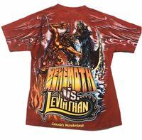 Vintage Cedar Fair Candas Wonderland LEVIATHAN VS BEHEMOTH Shirt All Over Print