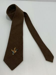 Vintage Equus Mens Tie Necktie 100% Wool Brown With Embroidery Of Duck.