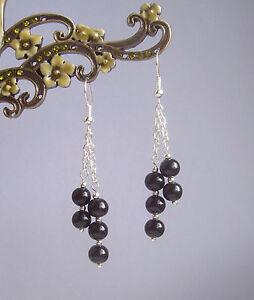 Pretty Black Glass Bead Dangly Chain Silver Plated Drop Earrings
