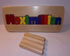 "MAXIMILLIAN Name Wood Step Stool Personalized Puzzle Wooden 8"" High Max NEW"