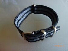 Uhrenarmband Nylon schwarz grau 20 mm NATO BAND Dornschließe Textil