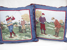 Golf Theme Decorative Throw Pillows Set of 2 Burgundy and Blue Vintage Golfers