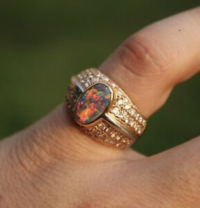 mens opal ring 18k yellow gold & .900 platinum with diamonds 13G Size 7 Black