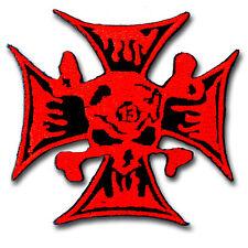 Blood Metal Cross Bone Red Skull Patch iron On Biker Sew Motorcycle Rock Badge