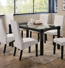Kings Brand Rectangle Cappuccino Wood With Glass Dining Kitchen Dinette Table