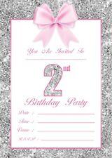 BABY GIRLS 2ND BIRTHDAY PARTY INVITATIONS KIDS INVITES COLOURED ENVELOPES