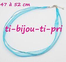 LOT de 2 COLLIERS cordons coton RUBANS organza TURQUOISE avec FERMOIRS perles