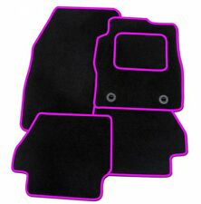PEUGEOT 107 TAILORED BLACK CAR MATS WITH PINK TRIM