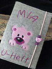 Wollfilz /Filz/ U-Heft Hülle/Schutzhülle Untersuchungshefthülle Namen Bär rosa