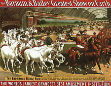 CIRCUS POSTER PRINT BARNUM & BAILEY PARADE THOROUGHBRED HORSES UNIFORMED RIDERS