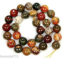 NATURAL 8MM PICASSO JASPER GEMSTONE ROUND BALL LOOSE BEAD 15in