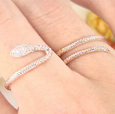 Womens Snake Ring Wrap Two Fingers Crystal Pink Rose Gold Plated Size Adjustable