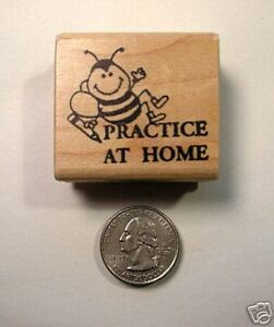 Practice At Home Teachers Rubber Stamp, Wood Mounted