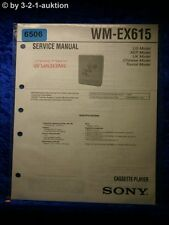 Sony Service Manual WM EX615 Cassette Player (#6506)