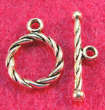 50Sets Wholesale Tibetan Silver Round Twist Toggle Clasps Connectors Hooks Q0306