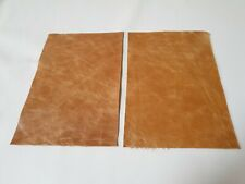 "Tan Rustic 100% Italian leather 9""x 6"" offcuts X2 1.1mm Patch Repair Craft"