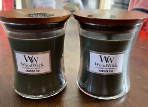 NEW lot of 2 Frasier Fir 9.7oz Medium Scented Candle Crackles as it Burns Wood