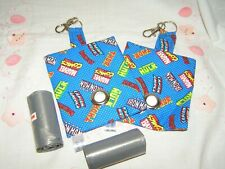 HANDMADE FABRIC DOG POO POOP BAG HOLDER DISPENSER AVENGERS LOGOS FABRIC
