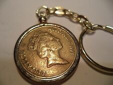 1995 Coin Set in a Brass Bezel With Screw Top Use as  Key Ring or Pendant