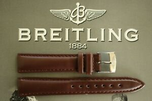 SILVER BUCKLE 18MM BROWN CALF WATCH BAND WATCHBAND STRAP BRACELET FOR BREITLING
