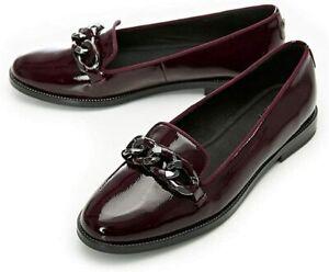Moda In Pelle Elony Ladies Womens UK5 Burgundy Leather Slip On Loafers S22 E2