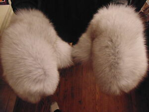 New Real Blue Fox Fur Gloves Mittens Soft and Furry With Hanging Strng