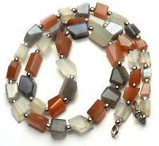 Super Fine Quality Multicolor Moonstone Faceted Nugget Beads Necklace 21 Inch