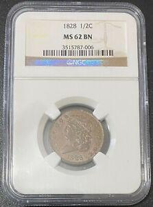 1828 Classic Head Half Cent, NGC MS 62 BN