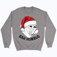 Christmas Jumper Bah humbug Sweater Top Xmas Grinch Gift Funny Xmas Bulldog XMD