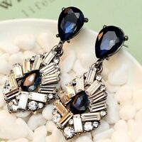 Exquisite New design women gorgeous bib statement S&W crystal long 47mm Earrings