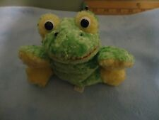 "USED 4"" Flower Green & Yellow Frog Plush Stuffed Animal Toy FREE SHIPPING"