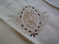 "High Quality Custom Embroidered Madeira Linen Tablecloth 42"" by 41"""