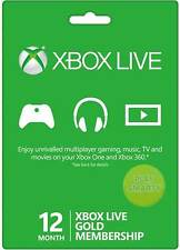 XBOX Live Gold Subscription 12 Month Code Xbox One Xbox 360 Microsoft Card Key