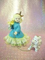 SUPER RARE VTG 1 Aqua Blue Yellow Lace Girl Hold Flowers Gold Trim & Poodle Dog