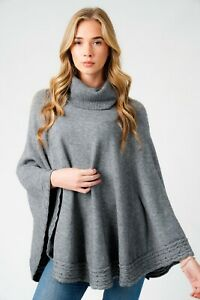 Ladies Quirky Lagenlook Italian Knitted Ribbed Curve Hem Cowl Neck Poncho Cape