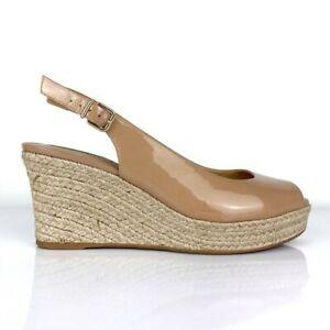 $89 Antonio Melani Paydon slingback platform wedges patent leather sandals 6M