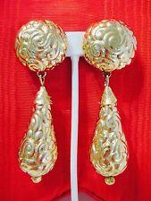 VTG YSL YVES ST. LAURENT GOLDTONE REPOUSSE' GOLDTONE LONG DANGLE CLIP EARRINGS