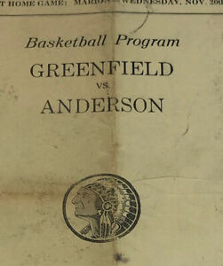 1940 Basketball Program Anderson Indian Indians Vs Greenfield Indiana Chief