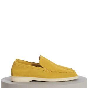 LORO PIANA 875$ Summer Walk Moccasin In Daffodil Yellow Suede Calfskin