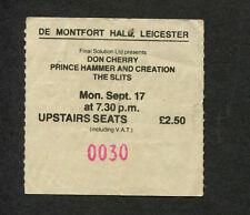 Original 1979 The Slits Don Cherry Prince Hammer Concert Ticket Stub Leicester