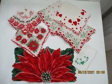 Lot of 7 Vintage Holiday Handkerchiefs Hankies Christmas Valentine St. Patrick