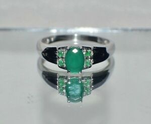 GLAMOROUS 1.47 ct.  NATURAL EMERALD PLATINUM OVER .925 STERLING  SILVER RING .