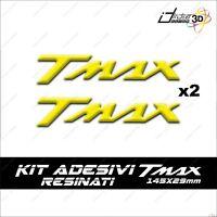 2 ADESIVI MOTO IN RESINA 3D SCRITTA TMAX COMPATIBILE YAMAHA T MAX 500 GIALLO 53