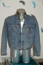 Pretty Jacket in Jeans Trucker Denim Collar Leather LEVI'S Size L Vintage