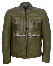 GUNNER Men's Biker Jacket Olive Biker Style Casual FASHION 100% Leather 7861