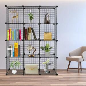 12 Cube Wire Grid Organizer Bookcase Storage Cabinet Wardrobe Closet Shelves