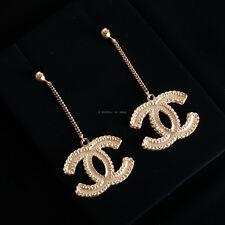 100% authentic BNIB CHANEL drop cc logo earrings gold tone dangle chain baroque
