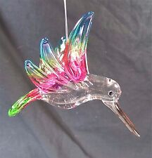 Hummingbird Glass Ornament Hand Made Holiday Home Decor (F)