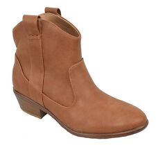 Wild Diva Women Western Ankle Boots Cowboy Cowgirl Booties Brown Cognac Manny-17